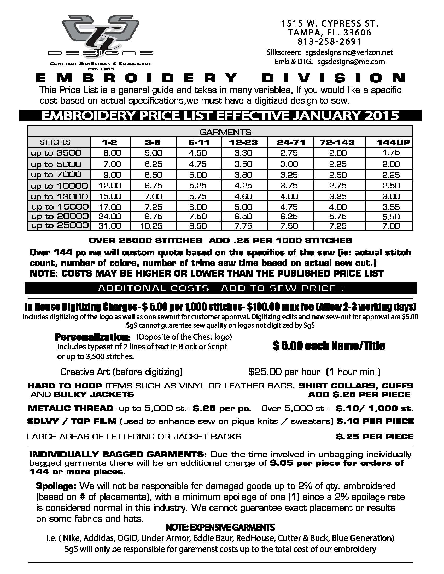 Embroidery price sheet - Embroidery Sgsdesignsinc
